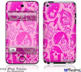iPod Touch 4G Decal Style Vinyl Skin - Skull Sketches Pink