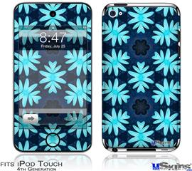 iPod Touch 4G Decal Style Vinyl Skin - Abstract Floral Blue