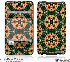 iPod Touch 4G Decal Style Vinyl Skin - Floral Pattern Orange