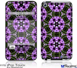 iPod Touch 4G Decal Style Vinyl Skin - Floral Pattern Purple