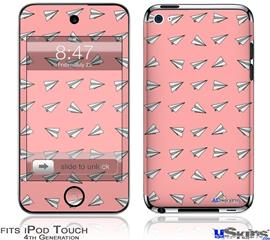 iPod Touch 4G Decal Style Vinyl Skin - Paper Planes Pink