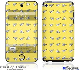 iPod Touch 4G Decal Style Vinyl Skin - Paper Planes Yellow