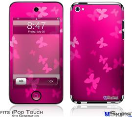 iPod Touch 4G Decal Style Vinyl Skin - Bokeh Butterflies Hot Pink