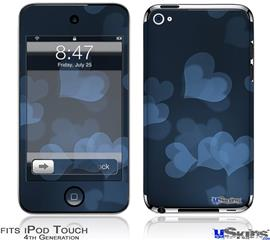 iPod Touch 4G Decal Style Vinyl Skin - Bokeh Hearts Blue
