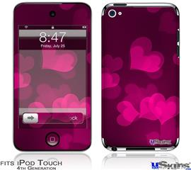 iPod Touch 4G Decal Style Vinyl Skin - Bokeh Hearts Hot Pink