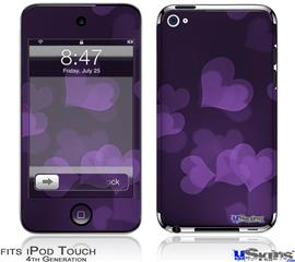 iPod Touch 4G Decal Style Vinyl Skin - Bokeh Hearts Purple