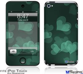 iPod Touch 4G Decal Style Vinyl Skin - Bokeh Hearts Seafoam Green