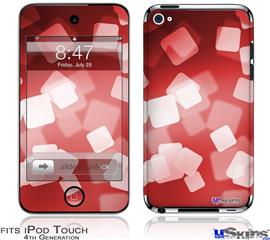 iPod Touch 4G Decal Style Vinyl Skin - Bokeh Squared Red