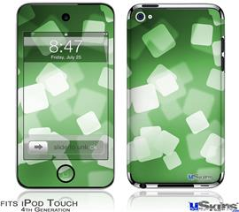 iPod Touch 4G Decal Style Vinyl Skin - Bokeh Squared Green