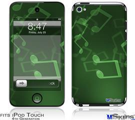 iPod Touch 4G Decal Style Vinyl Skin - Bokeh Music Green