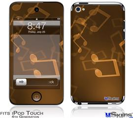 iPod Touch 4G Decal Style Vinyl Skin - Bokeh Music Orange