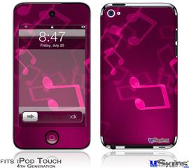 iPod Touch 4G Decal Style Vinyl Skin - Bokeh Music Hot Pink