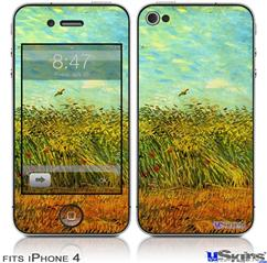iPhone 4 Decal Style Vinyl Skin - Vincent Van Gogh Wheat Field With A Lark (DOES NOT fit newer iPhone 4S)