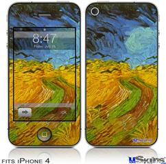 iPhone 4 Decal Style Vinyl Skin - Vincent Van Gogh Wheatfield (DOES NOT fit newer iPhone 4S)
