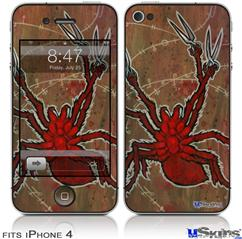 iPhone 4 Decal Style Vinyl Skin - Weaving Spiders (DOES NOT fit newer iPhone 4S)