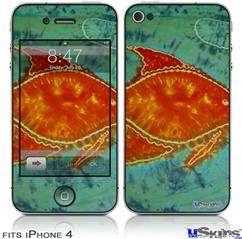 iPhone 4 Decal Style Vinyl Skin - Tie Dye Fish 100 (DOES NOT fit newer iPhone 4S)