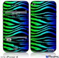 iPhone 4 Decal Style Vinyl Skin - Rainbow Zebra (DOES NOT fit newer iPhone 4S)