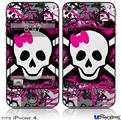 iPhone 4 Decal Style Vinyl Skin - Splatter Girly Skull (DOES NOT fit newer iPhone 4S)