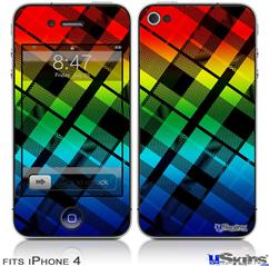 iPhone 4 Decal Style Vinyl Skin - Rainbow Plaid (DOES NOT fit newer iPhone 4S)