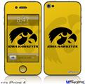 iPhone 4 Decal Style Vinyl Skin - Iowa Hawkeyes Herkey Black on Gold (DOES NOT fit newer iPhone 4S)
