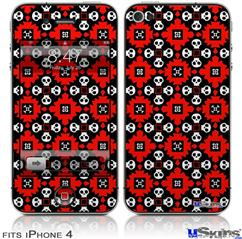 iPhone 4 Decal Style Vinyl Skin - Goth Punk Skulls (DOES NOT fit newer iPhone 4S)
