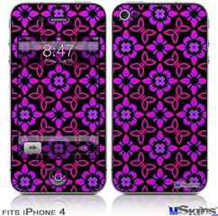 iPhone 4 Decal Style Vinyl Skin - Pink Floral (DOES NOT fit newer iPhone 4S)