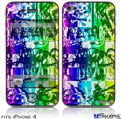 iPhone 4 Decal Style Vinyl Skin - Rainbow Graffiti (DOES NOT fit newer iPhone 4S)