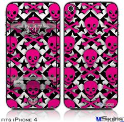 iPhone 4 Decal Style Vinyl Skin - Pink Skulls and Stars (DOES NOT fit newer iPhone 4S)