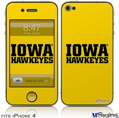 iPhone 4 Decal Style Vinyl Skin - Iowa Hawkeyes 01 Black on Gold (DOES NOT fit newer iPhone 4S)