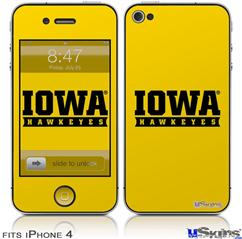 iPhone 4 Decal Style Vinyl Skin - Iowa Hawkeyes 03 Gold on Black (DOES NOT fit newer iPhone 4S)