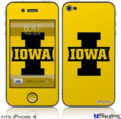 iPhone 4 Decal Style Vinyl Skin - Iowa Hawkeyes 04 Black on Gold (DOES NOT fit newer iPhone 4S)