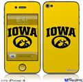 iPhone 4 Decal Style Vinyl Skin - Iowa Hawkeyes Tigerhawk Oval 01 Black on Gold (DOES NOT fit newer iPhone 4S)