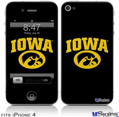 iPhone 4 Decal Style Vinyl Skin - Iowa Hawkeyes Tigerhawk Oval 01 Gold on Black (DOES NOT fit newer iPhone 4S)