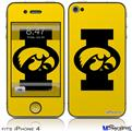 iPhone 4 Decal Style Vinyl Skin - Iowa Hawkeyes Tigerhawk Oval 02 Black on Gold (DOES NOT fit newer iPhone 4S)
