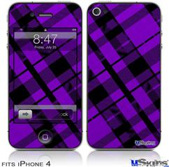 iPhone 4 Decal Style Vinyl Skin - Purple Plaid (DOES NOT fit newer iPhone 4S)