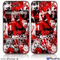 iPhone 4 Decal Style Vinyl Skin - Red Graffiti (DOES NOT fit newer iPhone 4S)