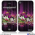 iPhone 4 Decal Style Vinyl Skin - Grungy Flower Bouquet (DOES NOT fit newer iPhone 4S)