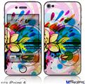 iPhone 4 Decal Style Vinyl Skin - Floral Splash (DOES NOT fit newer iPhone 4S)