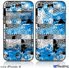 iPhone 4 Decal Style Vinyl Skin - Checker Skull Splatter Blue (DOES NOT fit newer iPhone 4S)