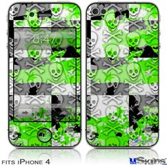iPhone 4 Decal Style Vinyl Skin - Checker Skull Splatter Green (DOES NOT fit newer iPhone 4S)