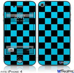 iPhone 4 Decal Style Vinyl Skin - Checkers Blue (DOES NOT fit newer iPhone 4S)