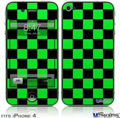 iPhone 4 Decal Style Vinyl Skin - Checkers Green (DOES NOT fit newer iPhone 4S)