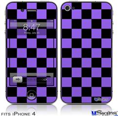 iPhone 4 Decal Style Vinyl Skin - Checkers Purple (DOES NOT fit newer iPhone 4S)