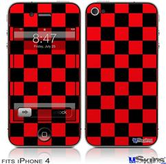 iPhone 4 Decal Style Vinyl Skin - Checkers Red (DOES NOT fit newer iPhone 4S)