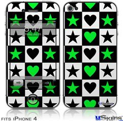iPhone 4 Decal Style Vinyl Skin - Hearts And Stars Green (DOES NOT fit newer iPhone 4S)