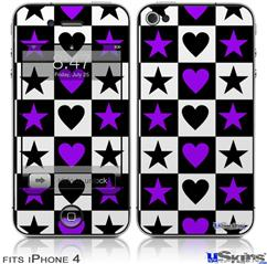 iPhone 4 Decal Style Vinyl Skin - Purple Hearts And Stars (DOES NOT fit newer iPhone 4S)