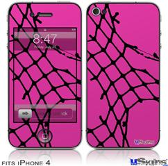 iPhone 4 Decal Style Vinyl Skin - Ripped Fishnets Pink (DOES NOT fit newer iPhone 4S)