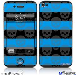 iPhone 4 Decal Style Vinyl Skin - Skull Stripes Blue (DOES NOT fit newer iPhone 4S)