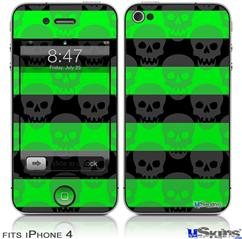 iPhone 4 Decal Style Vinyl Skin - Skull Stripes Green (DOES NOT fit newer iPhone 4S)