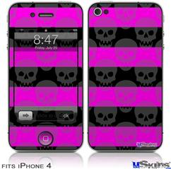 iPhone 4 Decal Style Vinyl Skin - Skull Stripes Pink (DOES NOT fit newer iPhone 4S)